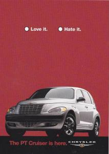 ADV: The PT Cruiser Is Here- Chrysler, Automotive (Red Background), 2000