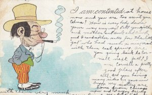 COMIC, PU-1907; I am contented, Old Man wearing a hat smoking