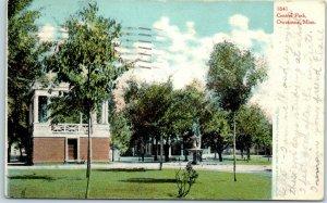 Owatonna, Minnesota Postcard Central Park Band Stand / Statue View 1907 Cancel