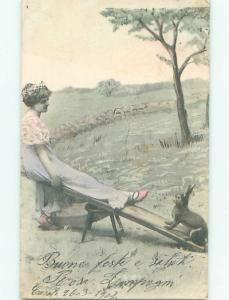 foreign 1902 Postcard EASTER BUNNY ON TEETER TOTTER AC2533