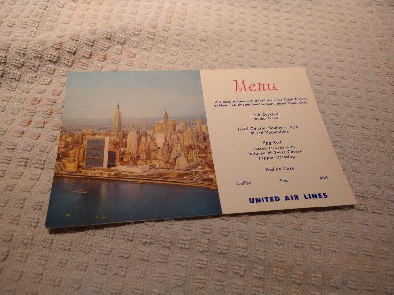 Vintage 1960's United Airlines New York Menu Postcard
