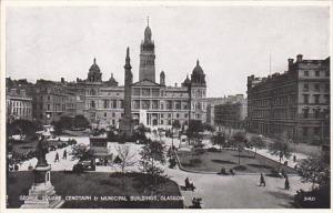Scotland Glasgow George Square With Cenotaph and Municipal Buildings