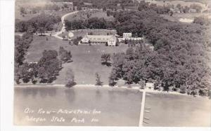Indiana Pokagon State Park Potawatomi Inn Air View Real Photo RPPC
