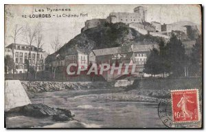 Old Postcard The Pyrenees Lourdes Le Chateau Fort