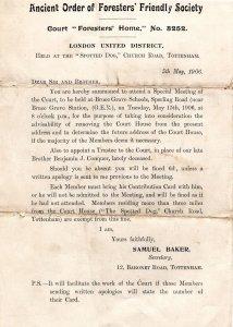 Tottenham London Court Foresters Friendly Society 1906 Invitation Document