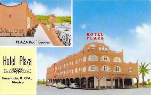 Ensenada B Calif. Mexico~Hotel Plaza Apartments~Roof Garden~1950s Cars~Postcard