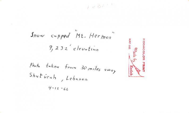 Shuturah, Lebanon Postcard, Carte Postale Snow capped Mt Hermon 9,232 Ft Elev...