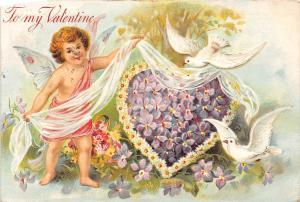 A52/ Valentine's Day Love Holiday Postcard 08 Kansas City Doves Cupid 15