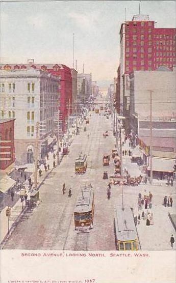 Washington Seattle Second Avenue Looking North 1907