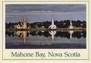 Mahone Bay Nova Scotia NS Three Churches Postcard D9
