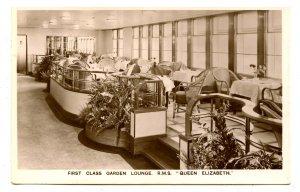 Cunard Line - RMS Queen Elizabeth, First Class Garden Lounge  *RPPC