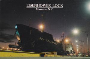 SEA TRANSPORT Ship in Eisenhower Lock , Massena , New York , 80-90s