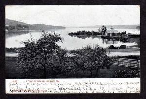 ME Vintage view Long Pond Harrison Maine Postcard UDB PC
