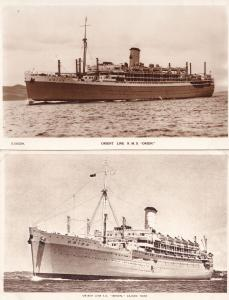 SS Orion Ship Orient Line 2x Antique incl Real Photo Postcard s