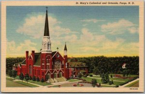 Fargo, North Dakota Postcard St. Mary's Cathedral & Grounds Church Linen 1940s