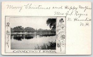 North Haverhill New Hampshire~Connecticut River~1905 Art Nouveau Roses~B&W PC