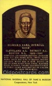 Howard Earl Averill Baseball Hall of Fame Card, Unused