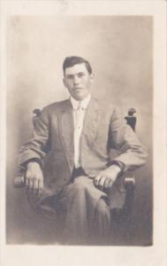 Man Posing In Chair Andrew M Bair Toronto Ohio Mail Carrier Real Photo
