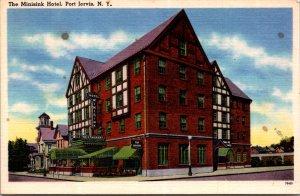 Minisink Hotel Port Jervis NY the Room Restaurant Street View Vtg Postcard