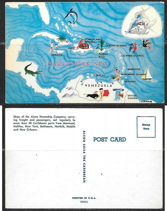 Caribbean Sea map PC from Alco Steamship Company, unused