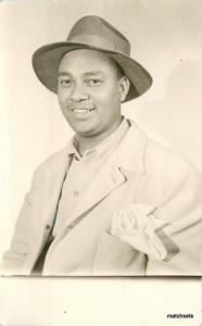 1940's Black Man snappy dresser hat RPPC Real Photo POSTCARD 3411