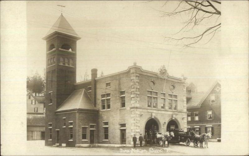 Barre VT Fire Station c1910 Real Photo Postcard
