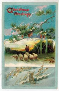 1977 Tuck's no.503 Christmas Snows Shepard with Sheep