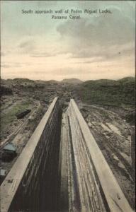 Panama Canal Pedro Miguel Locks Wall Albert Lindo #523 c1910 Postcard