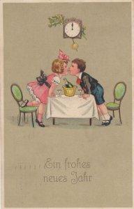 Happy New Year Swiss Children Romance Under Clock Postcard