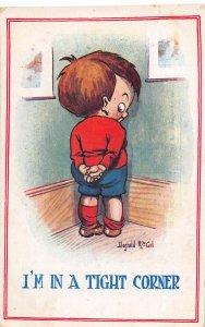 F92/ Artist Signed Postcard c1910 Donald McGill Comic Boy in Corner 6