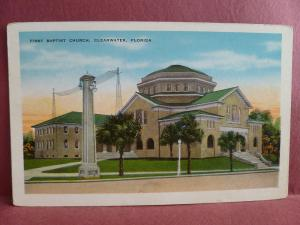 Old Postcard First Baptist Church Clearwater  Florida FL