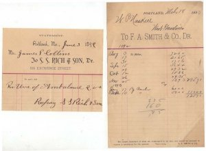 (2) 1891-3 Billheads, S. S. RICH & SON,  F. A. SMITH & CO., Dr., Portland, Maine