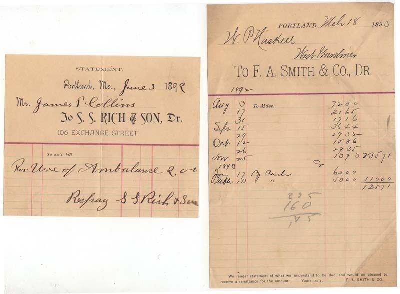 (2) 1891-3 Billheads, S. S. RICH & SON,  F. A. SMITH & CO., Dr., Portland, Maine