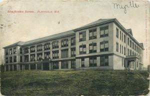 Platteville Wisconsin~Porte Cochere on Side of New Normal School~1907 Postcard