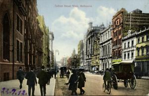 australia, MELBOURNE, Victoria, Collins Street West (1912) Postcard