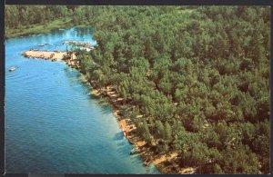 NH Aerial View Westward Shores Camping Area on OSSIPEE LAKE - Chrome 1950s-1970s