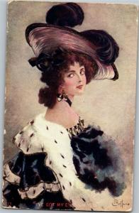 I've Got My Eyes on You by Gottaro, Wealthy Woman Vintage Postcard M16