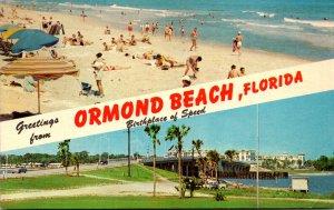 Florida Ormond Beach Greetings Showing Beach North Of Granada Avenue & Rockef...