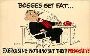 Comic Postcard Bosses Get Fat Excercising Prerogative Postcard