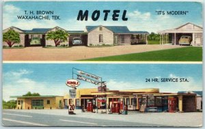 Waxahachie, Texas Postcard BROWN'S MOTEL & SERVICE STATION Roadside Linen 1962