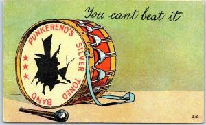 1908 Comic / Greetings Postcard Punkereno's Silver Toned Band Broken Drum
