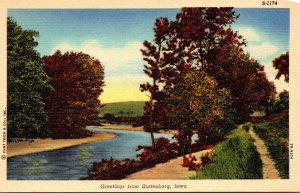 Iowa Greetings From Guttenberg River Scene Curteich