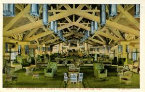 WY - Yellowstone National Park. Grand Canyon Hotel, Lounge toward Office   (H...