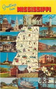 Greetings from Mississippi MS Chrome Map Postcard