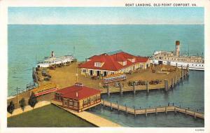 Old Point Comfort Virginia Boat Landing Birdseye View Antique Postcard K20466
