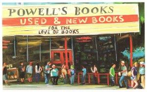 Powells Books Portland Oregon Bookstore Shop Oil Painting Postcard