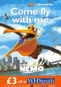Postcard FINDING NEMO..Come Fly With Me. WH Smith Promotional Advert Card