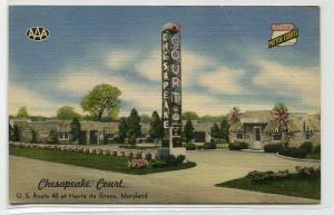 Chesapeake Court Motel US Highway 40 Havre de Grace Maryland 1953 postcard