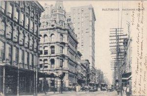Maryland Baltimore Trolleys On Baltimore Street 1909 Tucks sk1354