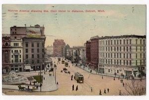 HP082221 Monroe Avenue Vintage Detroit MI Postcard 1911
